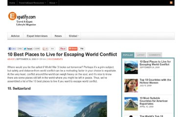 http://www.expatify.com/advice/10-best-places-to-live-for-escaping-world-conflict.html