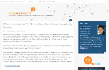 http://www.crisscrossed.net/2007/06/10/what-is-enterprise20-five-pillars-for-efficient-knowledge-sharing/
