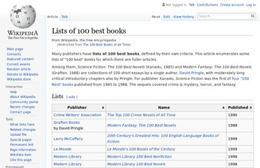 http://en.wikipedia.org/wiki/The_100_Best_Books_of_All_Time