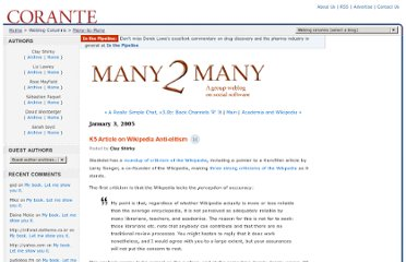 http://many.corante.com/archives/2005/01/03/k5_article_on_wikipedia_antielitism.php