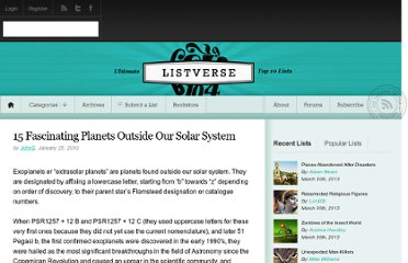 http://listverse.com/2010/01/25/15-fascinating-planets-outside-our-solar-system/