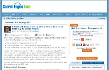 http://searchengineland.com/6-content-tips-how-to-write-when-you-have-nothing-to-write-about-62135