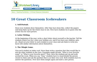 http://www.worksheetlibrary.com/teachingtips/icebreakers.html
