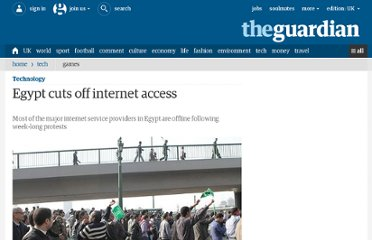 http://www.guardian.co.uk/technology/2011/jan/28/egypt-cuts-off-internet-access