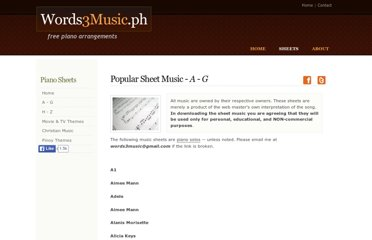 http://www.words3music.ph/sheets-pop1.html