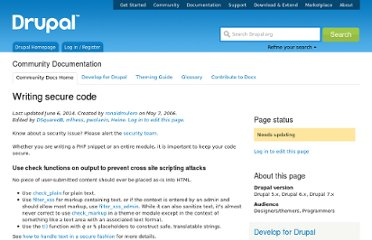 http://drupal.org/writing-secure-code