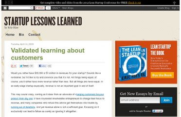 http://www.startuplessonslearned.com/2009/04/validated-learning-about-customers.html