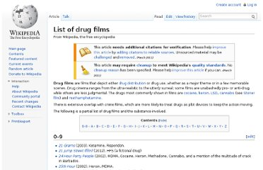 http://en.wikipedia.org/wiki/List_of_drug_films