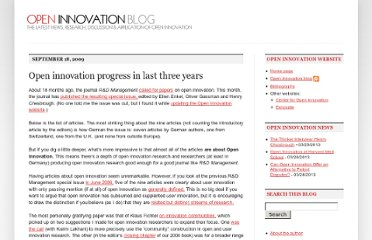 http://blog.openinnovation.net/2009/09/open-innovation-progress-in-last-three.html