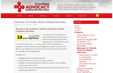 http://advocacy.globalvoicesonline.org/projects/advocacy-20-guide-tools-for-digital-advocacy/