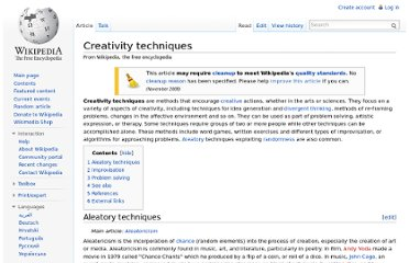 http://en.wikipedia.org/wiki/Creativity_techniques