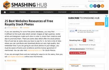 http://smashinghub.com/25-best-websites-resources-of-free-stock-photos.htm