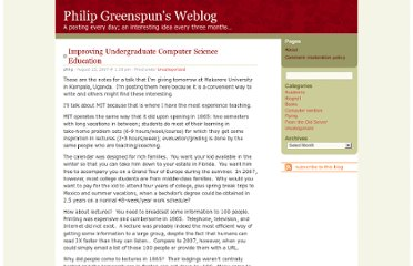 http://blogs.law.harvard.edu/philg/2007/08/23/improving-undergraduate-computer-science-education/