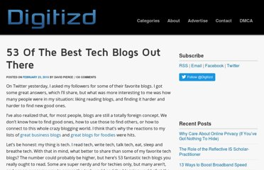 http://www.digitizd.com/2010/02/23/53-of-the-best-tech-blogs-out-there/