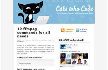 http://www.catswhocode.com/blog/19-ffmpeg-commands-for-all-needs