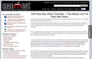 http://www.myfirstmac.com/index.php/mac/articles/195-free-mac-video-tutorials-the-master-list-for-new-mac-users