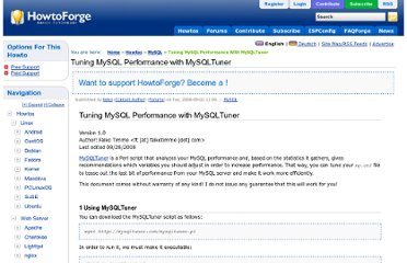 http://www.howtoforge.com/tuning-mysql-performance-with-mysqltuner
