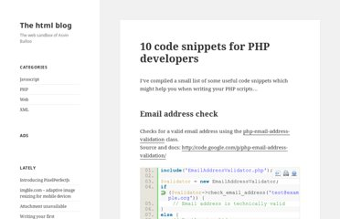 http://htmlblog.net/10-code-snippets-for-php-developers/