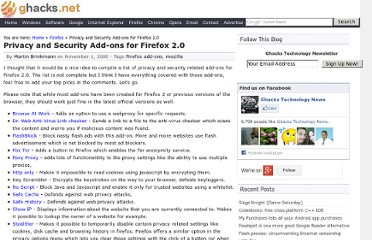 http://www.ghacks.net/2006/11/01/privacy-and-security-add-ons-for-firefox-20/