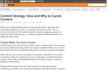 http://www.cmswire.com/cms/web-engagement/content-strategy-how-and-why-to-curate-content-009454.php