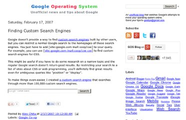 http://googlesystem.blogspot.com/2007/02/finding-custom-search-engines.html