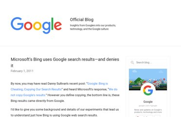 http://googleblog.blogspot.com/2011/02/microsofts-bing-uses-google-search.html