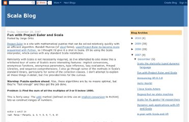 http://scala-blogs.org/2007/12/project-euler-fun-in-scala.html
