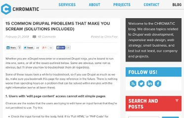 http://www.chromaticsites.com/blog/15-common-drupal-problems-that-make-you-scream-solutions-included/