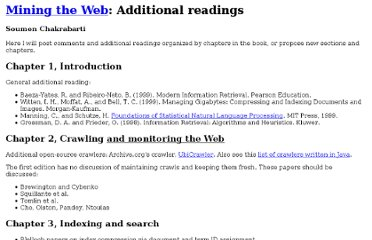 http://www.cse.iitb.ac.in/%7Esoumen/mining-the-web/readings.html