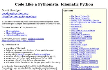 http://python.net/%7Egoodger/projects/pycon/2007/idiomatic/handout.html