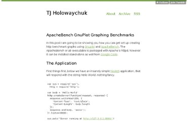 http://tjholowaychuk.com/post/543349452/apachebench-gnuplot-graphing-benchmarks