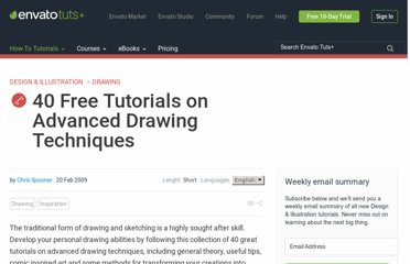 http://vector.tutsplus.com/articles/inspiration/40-free-tutorials-on-advanced-drawing-techniques/