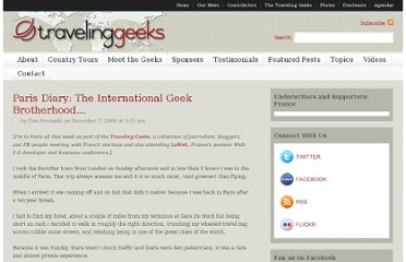 http://travelinggeeks.com/traveling-geeks/paris-diary-the-international-geek-brotherhood/