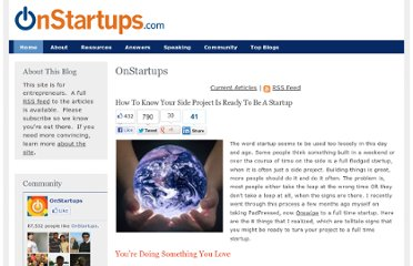 http://onstartups.com/tabid/3339/bid/39008/How-To-Know-Your-Side-Project-Is-Ready-To-Be-A-Startup.aspx