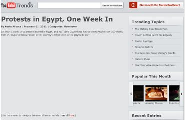 http://youtube-trends.blogspot.com/2011/02/egypt-protests-one-week-in-footage.html