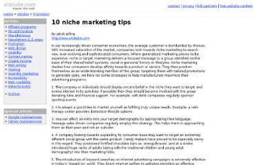 http://www.sitetube.com/promotion/10-niche-marketing-tips.shtml