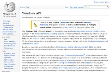 http://en.wikipedia.org/wiki/Windows_API