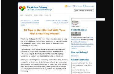 http://blog.thewritersgateway.com/2011/02/02/20-tips-to-get-started-with-your-e-learning-project/