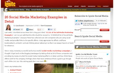 http://www.ignitesocialmedia.com/social-media-examples/26-social-media-marketing-examples-in-detail/