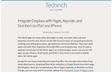 http://techinch.com/2011/02/02/integrate-dropbox-with-pages-keynote-and-numbers-on-ipad/