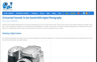 http://www.pxleyes.com/blog/2009/06/34-essential-tutorials-to-get-started-with-digital-photography/