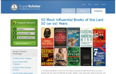 http://www.superscholar.org/features/50-most-influential-books-last-50-years/