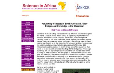 http://www.scienceinafrica.co.za/2005/july/edibleinsects.htm