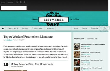 http://listverse.com/2009/02/13/top-10-works-of-postmodern-literature/