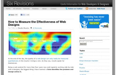 http://sixrevisions.com/web_design/how-to-measure-the-effectiveness-of-web-designs/