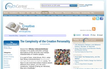 http://blogs.psychcentral.com/creative-mind/2011/02/the-complexity-of-the-creative-personality/