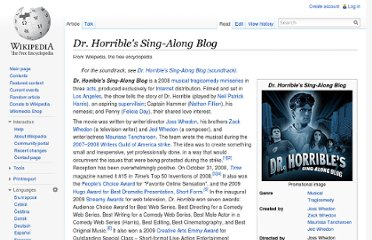 http://en.wikipedia.org/wiki/Dr._Horrible%27s_Sing-Along_Blog