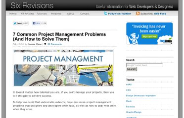 http://sixrevisions.com/project-management/7-common-project-management-problems-and-how-to-solve-them/