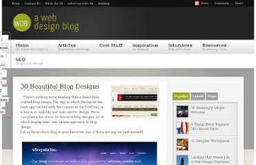 http://www.awebdesignblog.com/30-beautiful-blog-designs/