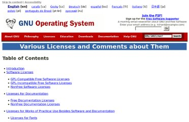 http://www.gnu.org/licenses/license-list.html
